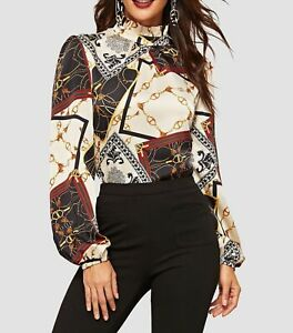 Frilled-Neck-Stand-Collar-Long-Sleeve-Geometric-Print-Blouse-Top-Casual-Work