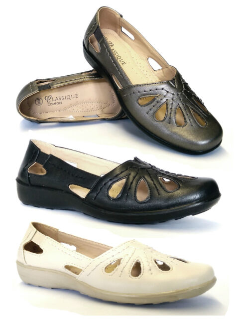 Womens Ladies Flat Loafer Casual Cut Out Comfort Office Dolly Pumps Shoes Size
