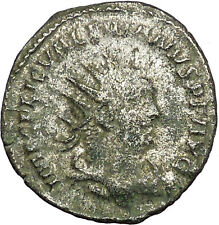 Valerian I receivind wreath from Turreted female 255AD Ancient Roman Coin i34745