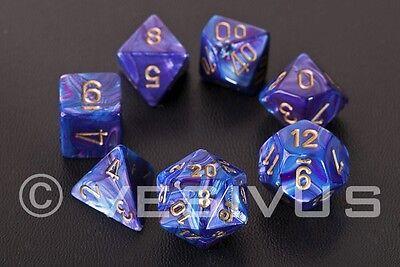 DICE Chessex Lustrous PURPLE 7-Dice Set Oil Oily d20 d10 d6 Shiny RPG 27497