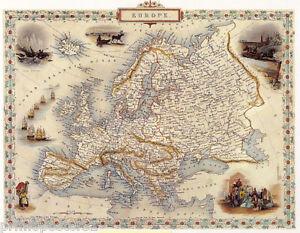 1800S MAP EUROPE FRANCE ITALY SPAIN ARAB SWEDEN REPRO POSTER | eBay
