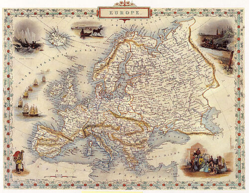 1800S MAP EUROPE FRANCE ITALY SPAIN ARAB SWEDEN REPRO POSTER