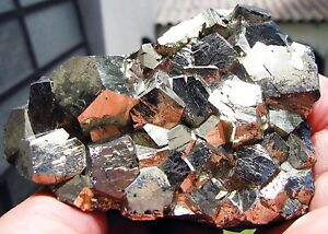 PYRITE-PENTADODECAHEDRAL-CRYSTALS-on-MATRIX-from-PERU-SUPERIOR-BRIGHTNESS