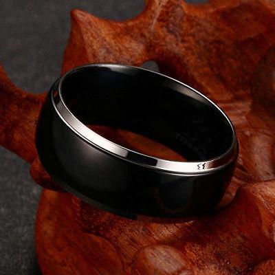8MM Men Women Stainless Steel Black Gold Band Ring Wedding Engagement Size 6-13