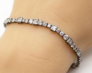 925-Sterling-Silver-Vintage-White-Cubic-Zirconia-Tennis-Bracelet-B3810