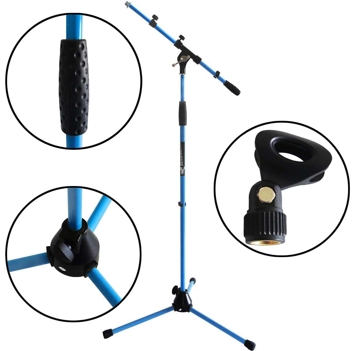 Keep DRUM MS106 Blue Microphone Stand Microphone Stand with gallows + Microphone Clamp