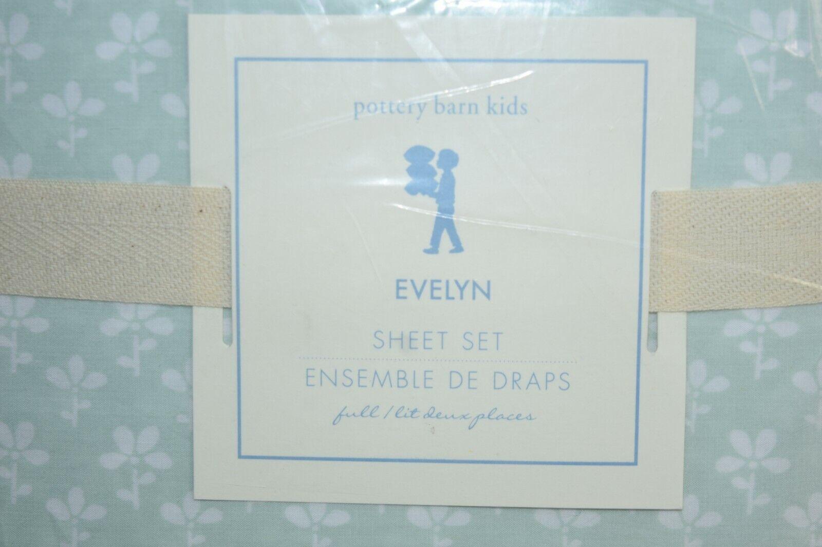 Neuf Pottery Barn Kids Evelyn Vert Pale Menthe Sauge Ensemble de Draps Blanc