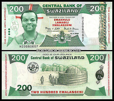 Hot Sale 50-70% OFF Orderly Swaziland 200 Emalangeni 2008 Uncirculated P.35 Replacement Commemorative