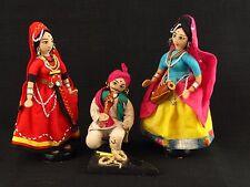 Vintage Set Indian Figurine Dolls Snake Charmer & Gypsy Women Dancing & Drumming