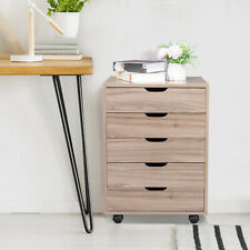 Five Drawers Filing Cabinets Rolling Wooden Nightstand Storage Bedside