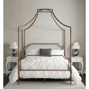 modern contemporary full size canopy bed frame antique brushed copper metal girl ebay. Black Bedroom Furniture Sets. Home Design Ideas