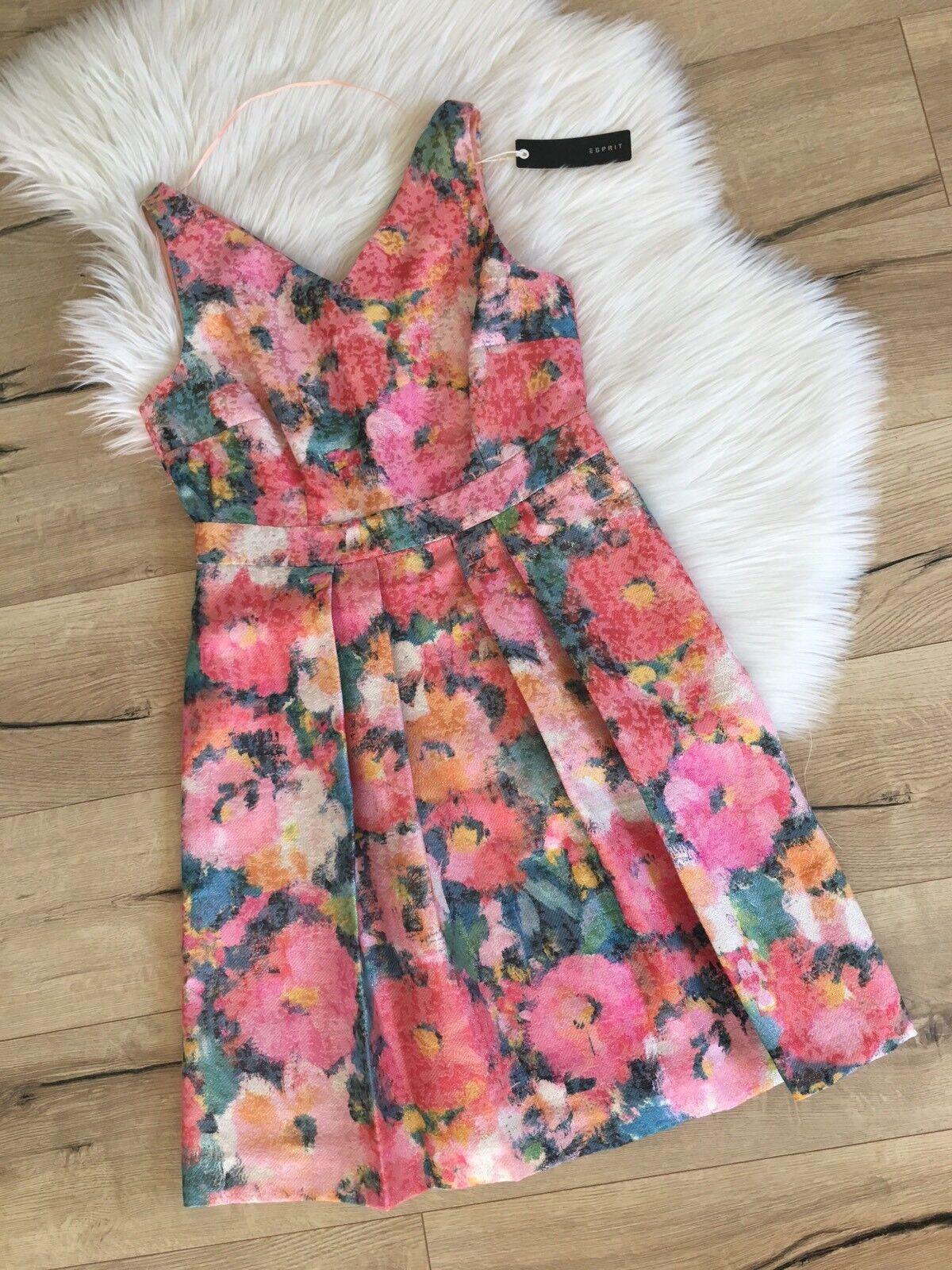 ESPRIT Kleid Business NP Blaumenmuster❤️ NEU Mit Etikett ❤️ bunt Sommer Gr. 38