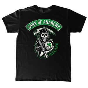 Sons-of-Anarchy-Green-Patch-Irland-Chapter-Grim-Reaper-Shamrock-Maenner-T-Shirt