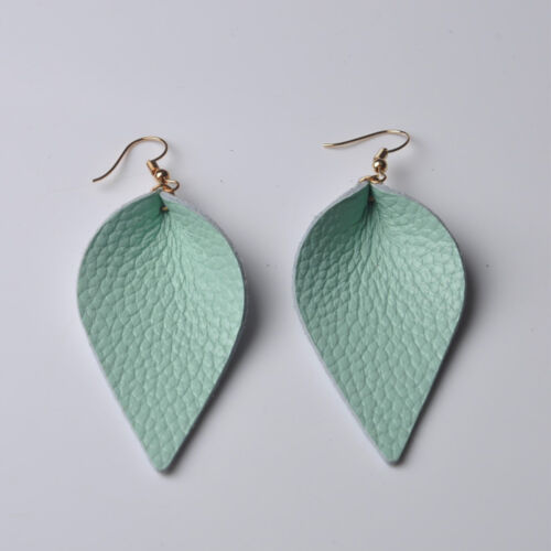 2x Boho Leaf Teardrop Shape Leather Earrings Women Ear Stud Charm Jewelry Gift