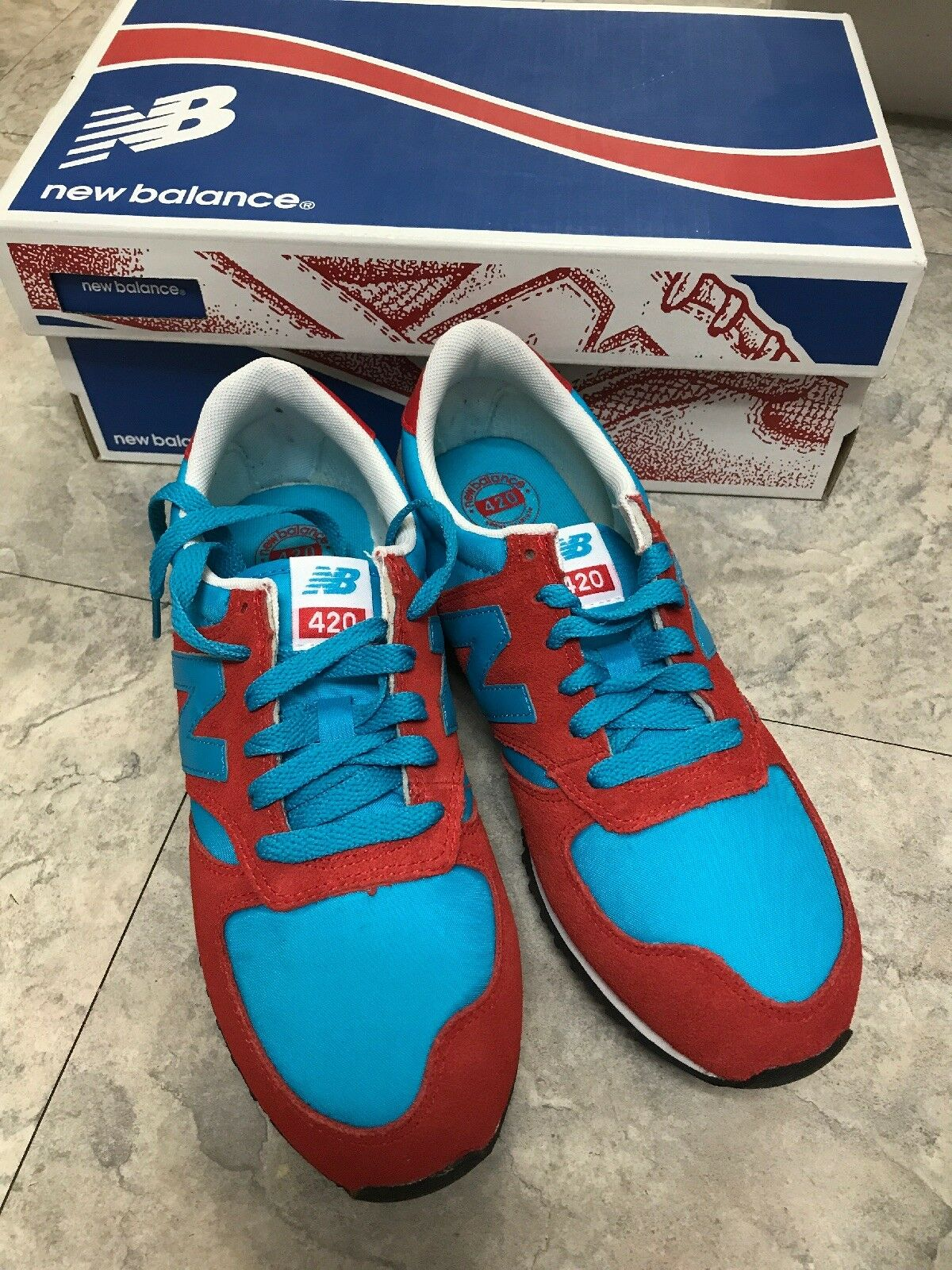 New Balance for J Crew  420 bluee and Red Sneakers Women's size 7M