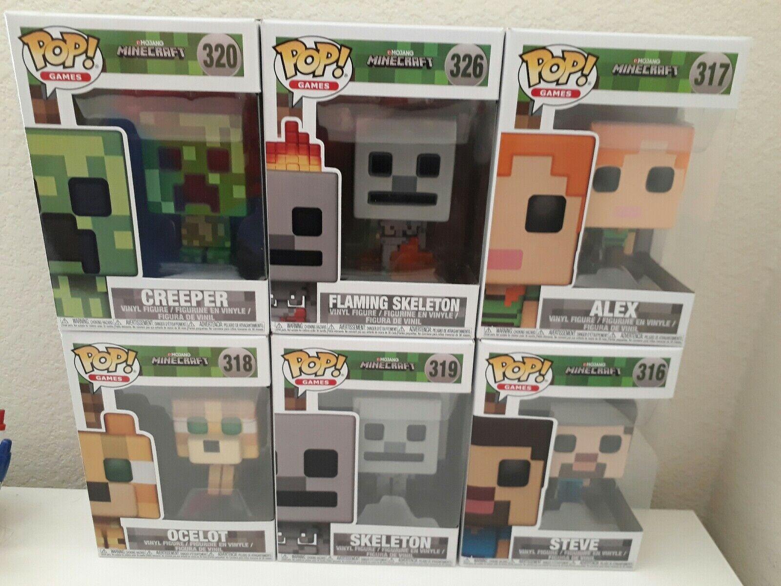 Funko POP  buchstabieren Minecraft Full Set with Exclusive Flaming Skeleton - Set of 6