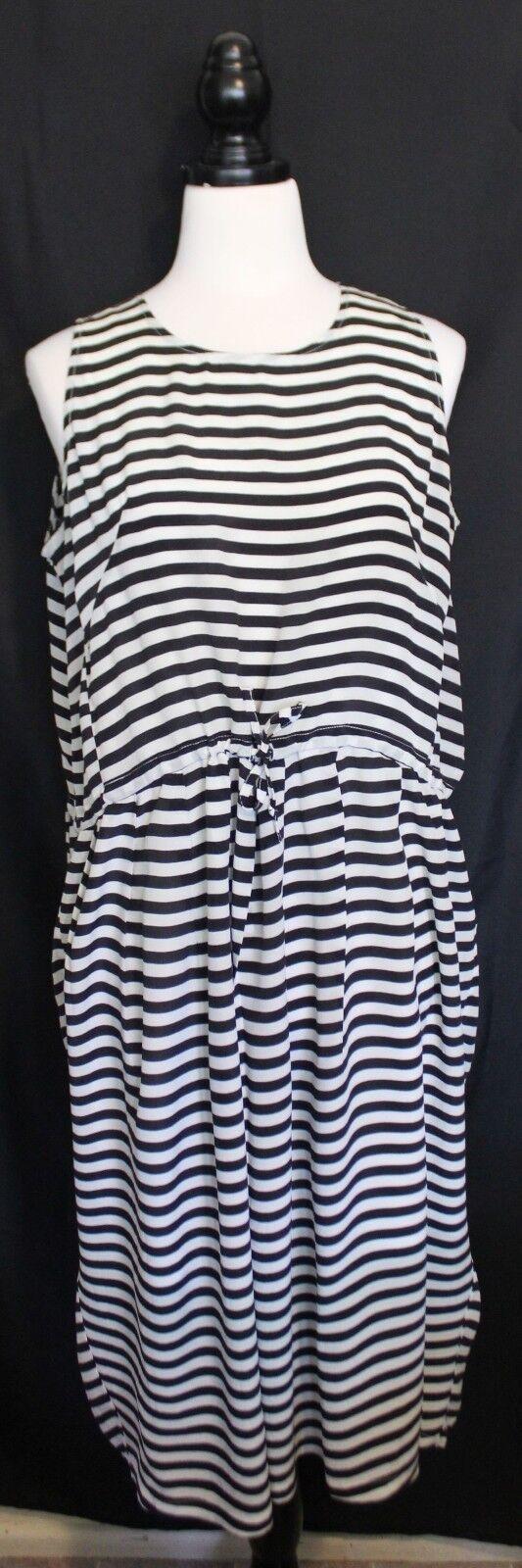 Búl BUL  Melbourne Design schwarz Weiß Striped Silk Sleeveless Dress w Shift 10