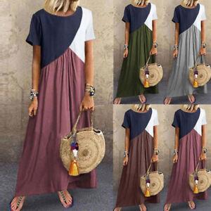 Plus-Size-Women-Holiday-Short-Sleeve-Maxi-Dress-Lady-Casual-Oversize-Long-Dress