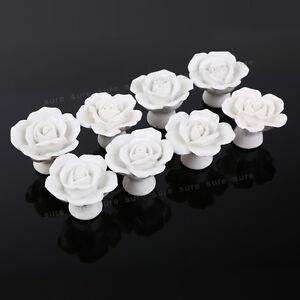 8er weiss porzellan rose m belkn pfe m belgriffe m belknauf m belknopf deko ebay. Black Bedroom Furniture Sets. Home Design Ideas