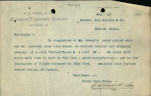 1890 Moscow Idaho (ID) Letter A.C Nichols & Co. Wholesale Leather Dealers