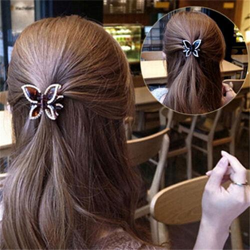 Neue Frauen Schmetterling Kristall Strass Klaue Haarnadel Haarspange Clamp TQY