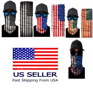 UV Face Protection Headwear Fishing Gator Bandana Neck Covering AMERICAN FLAG