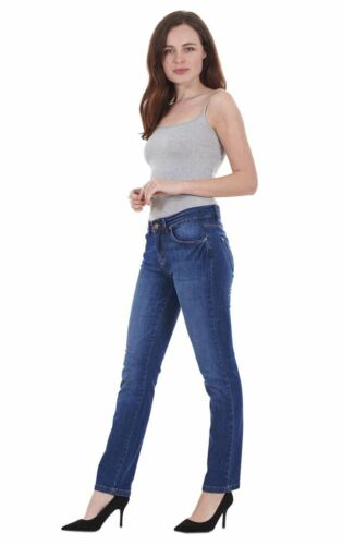 Ladies Indigo Collection Cotton Pants Women Denim Straight Leg Jeans