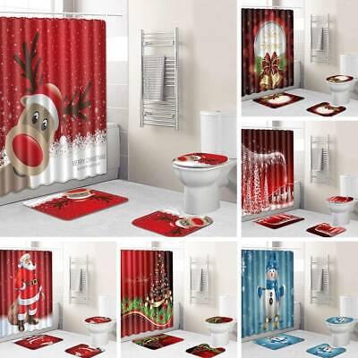 4 Pcs//Set Christmas Bathroom Santa Toilet Seat Cover Mat Shower Curtain Decor US