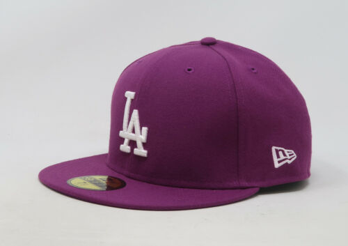 New Era 59Fifty Hat Mens MLB Los Angeles Dodgers Purple Grape 5950 Fitted Cap