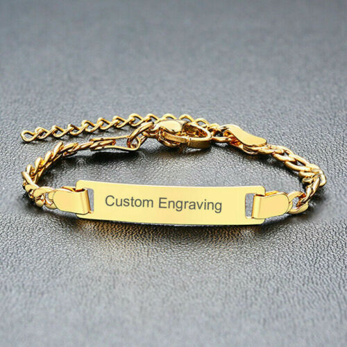 Customize Bracelet Kid Infant Baby Toddler ID Name Logo Plate Bar Free Engraving