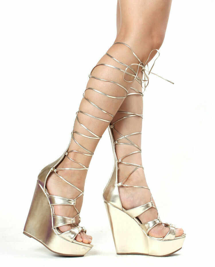 Party Chaussures Femme compensées Gladiateur Sandale au niveau du genou talons hauts Club Chaussures NOUVEAU