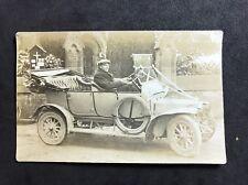 Vintage Postcard - RP Anonymous Men - #166 Man  In Vintage Car - Wedding Car?