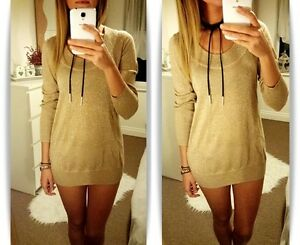 BNWT-H-amp-M-HM-Gold-Long-Jumper-Knit-Top-Sexy-S