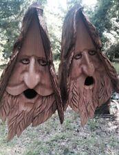2 Hand Carved Wood Spirit Old Man Face Cedar Birdhouses With Hair