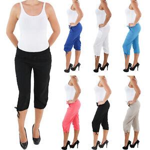 Leinen-Capri-3-4-Shorts-Bemuda-Kurze-Hose-Hueft-Stretch-Hose-Sommerhose