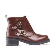 Woman vegan ankle boot casual heel wrap strap buckle comfort lined breathable