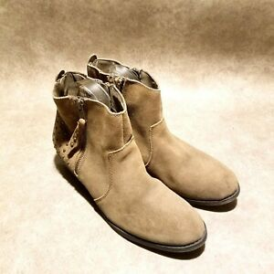 White-Mountain-Womens-Jackie-Sz-9-5-M-Brown-Leather-Ankle-Boots-Booties