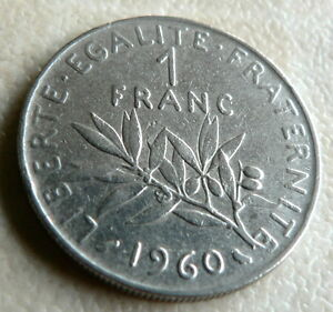 1960  1 FRANC COIN  FRANCE - <span itemprop=availableAtOrFrom> Wiltshire, United Kingdom</span> - 1960  1 FRANC COIN  FRANCE -  Wiltshire, United Kingdom