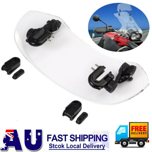 Universal Motorcycle Clip-On Windshield Adjustable Extension Spoiler Windscreen