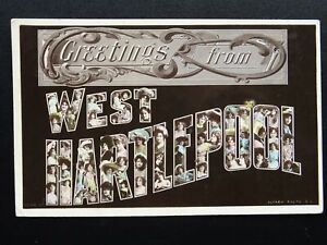 Greetings-from-WEST-HARTLEPOOL-Women-in-Letters-c1908-RP-Postcard-by-Rotary