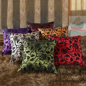 Home-Decor-Sofa-Square-Raised-Flocked-Blossom-Satin-Cushion-Cover-Pillow-case