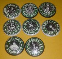 Set Of 8 Disney Princess Starbucks 1 Pins Button Belle Meirda Cinderella Aurora