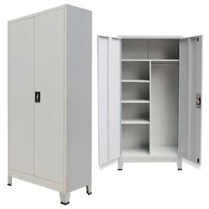 Armadi Per Ufficio In Metallo Prezzi.Metal Storage Office Cabinet 2 Door Cupboard Wardrobe Shelves Locker