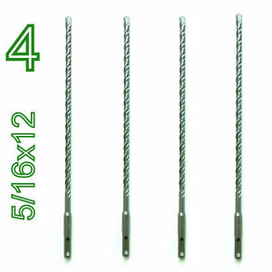 "4 pc Set of SDS PLUS 5/16"" diameter 12"" long Carbide tip Hammer drill bit S"