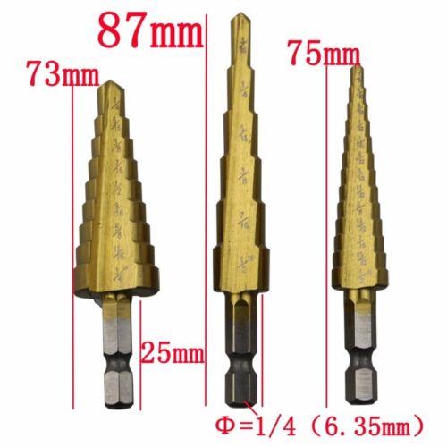 3PCS HSS 4241 Steel Step Cone Titanium Coated Drill Bit Hole Cutter Hex Shank