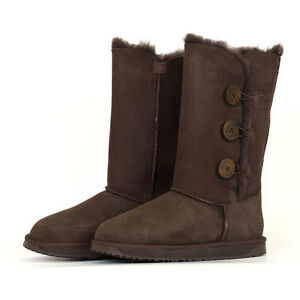 ca4e656d58c Details about 3 Button Premium Sheepskin UGG Boots - Chocolate *Clearance*
