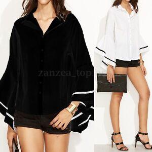 ZANZEA-Women-Long-Bell-Sleeve-Loose-Stripe-Office-Ladies-Blouse-Shirt-Tops-Plus