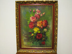 LARGE-VINTAGE-OIL-ON-CANVAS-PAINTING-OF-ROSES-SIGNED