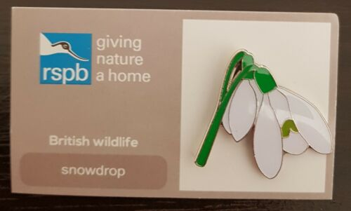 "Brand New Official /""RSPB Snowdrop/"" Pin Badge FREE POST//SAME DAY DISPATCH !!"