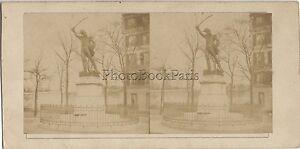 París Estatua Del Mariscal Ney Francia Foto Estéreo Stereoview Vintage Ca 1860